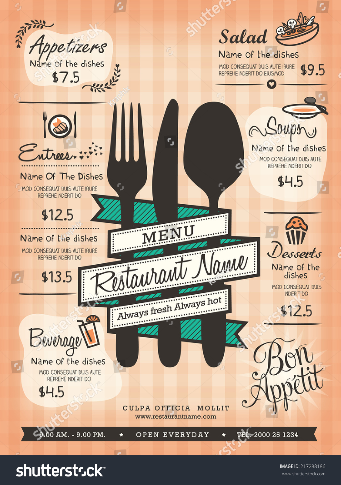 Restaurant Menu Design Template Layout Stock Vector 217288186 ...