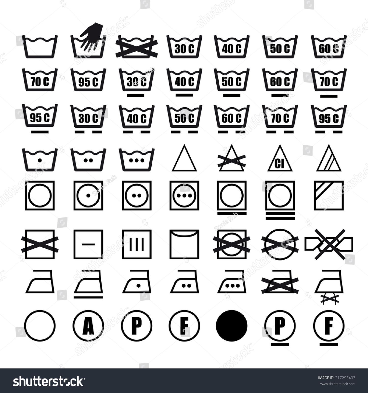 Royalty Free Vector Icon Set Of Washing Symbols 217293403 Stock