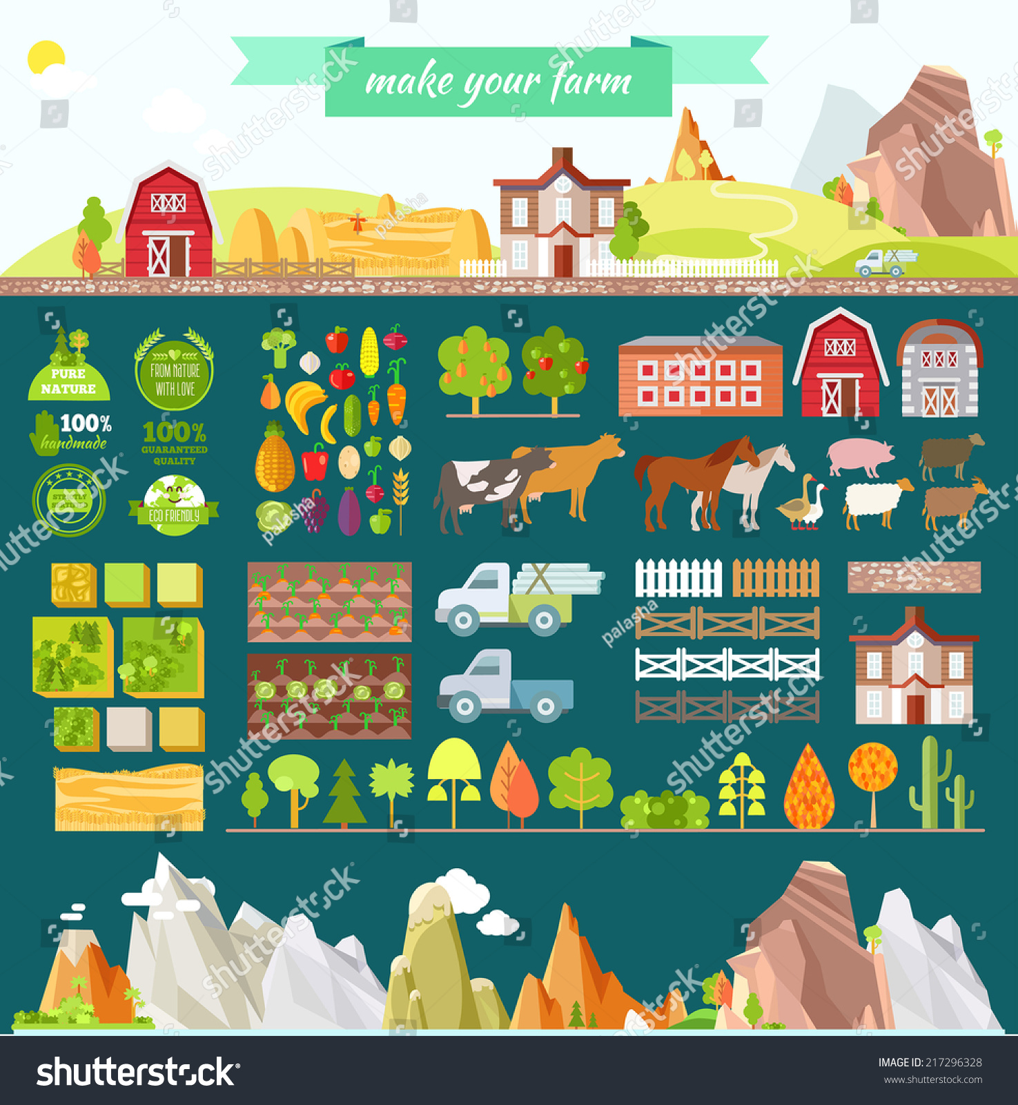 create your own farm big set stock vector 217296328