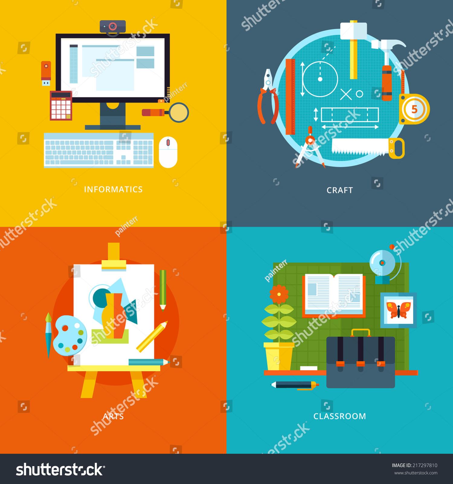 Classroom Layout App ~ Vector school education icons set web stock