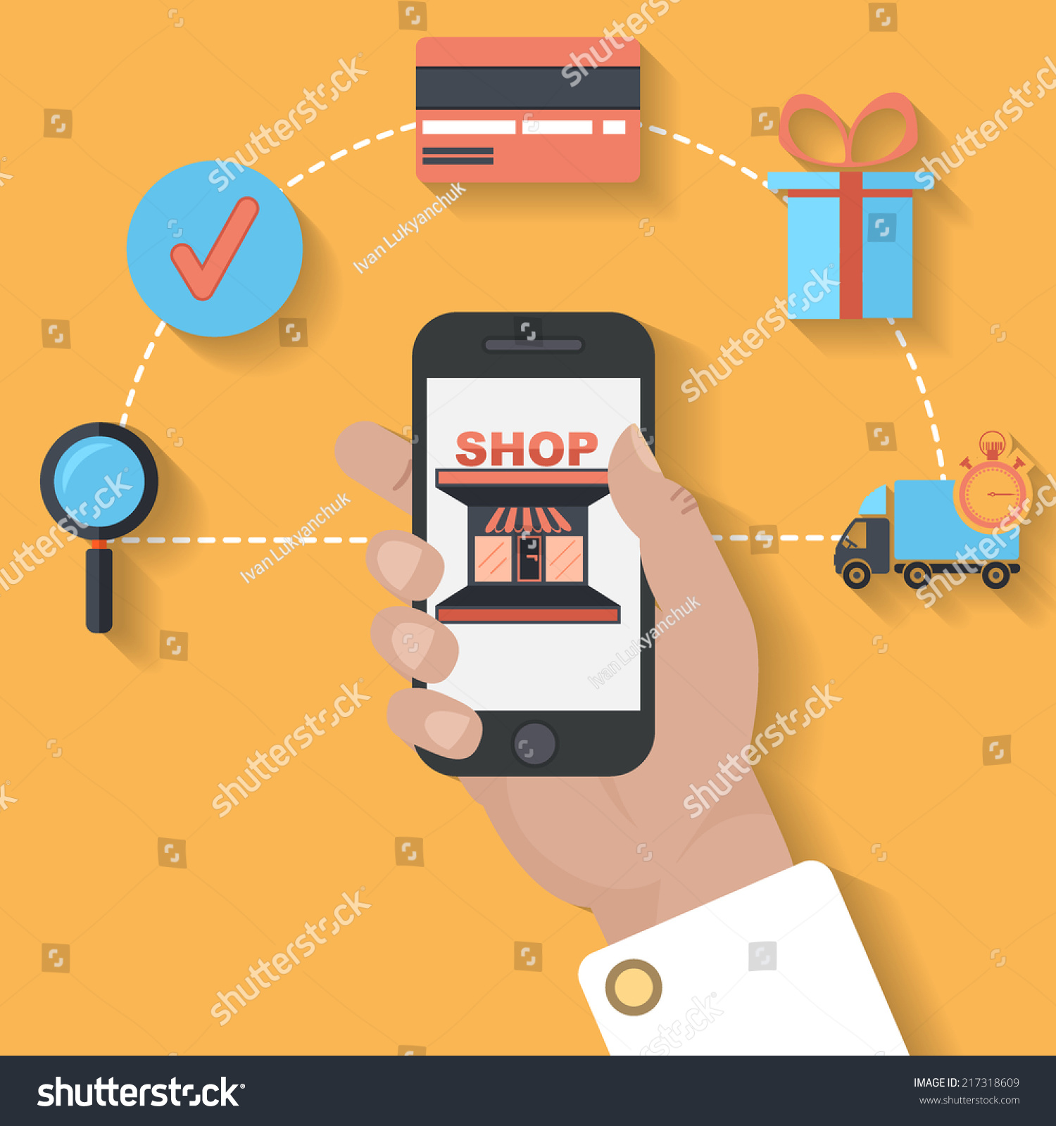 Ecommerce mobile payment concept flat design stock vector for E commerce mobili