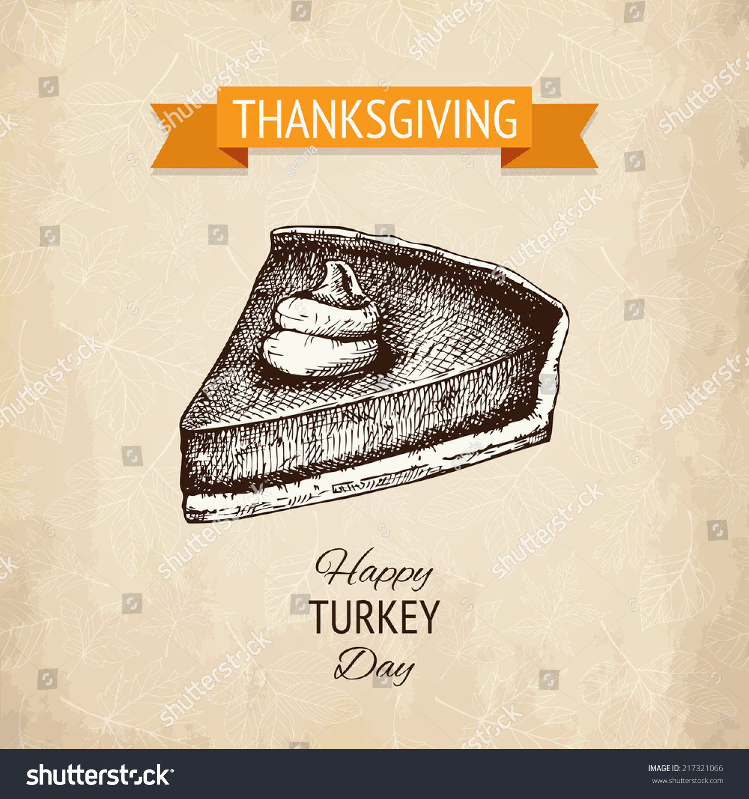 Vector Illustration With Ink Hand Drawn Pumpkin Pie For Thanksgiving Day Design Vintage Turkey
