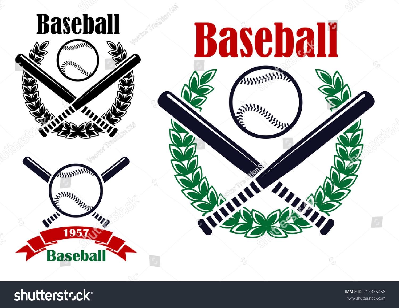 Baseball Sporting Emblems Symbols Ball Bats Stock Vector 217336456