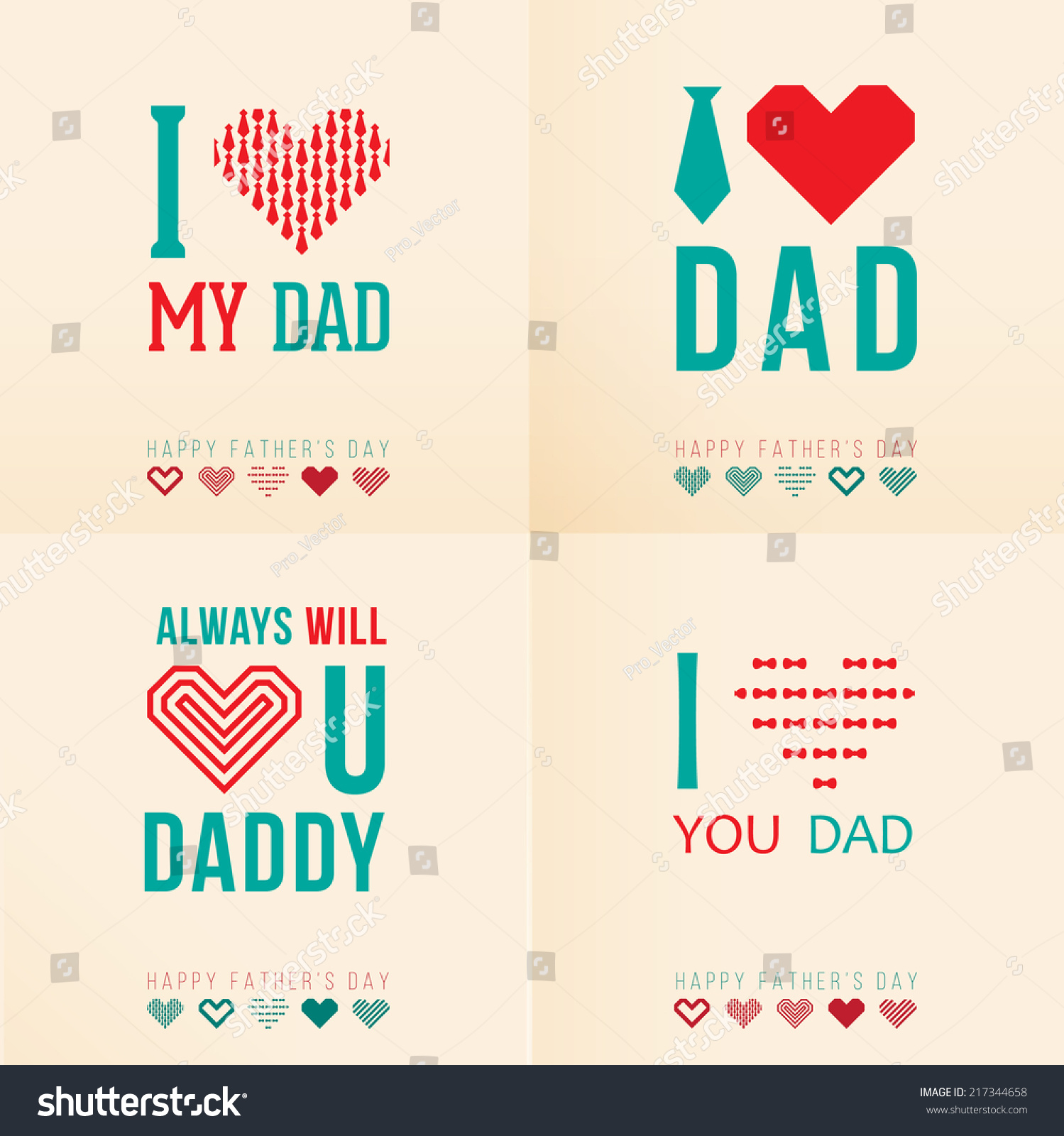 Greeting Cards Happy Fathers Day Stock Vector 217344658 Shutterstock