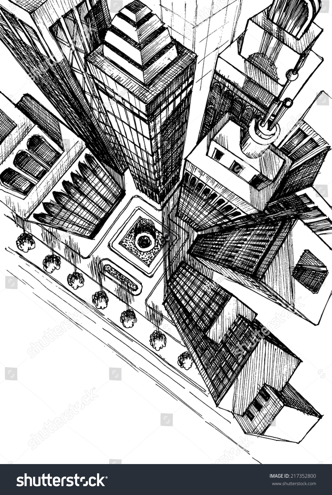 Top View City Skyscrapers Drawing Aerial Stock Vector ...