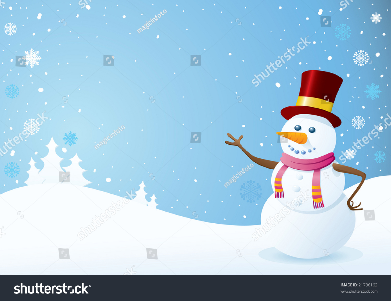 snowman on christmas background christmas backgrounds stock vector