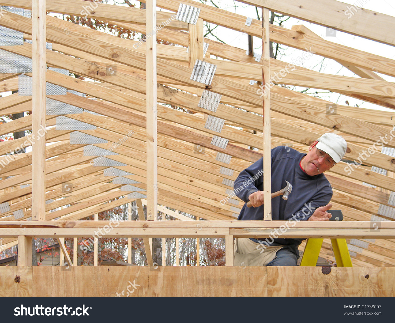 Carpenter Framing Gable End Many Roof Stock Photo 21738007