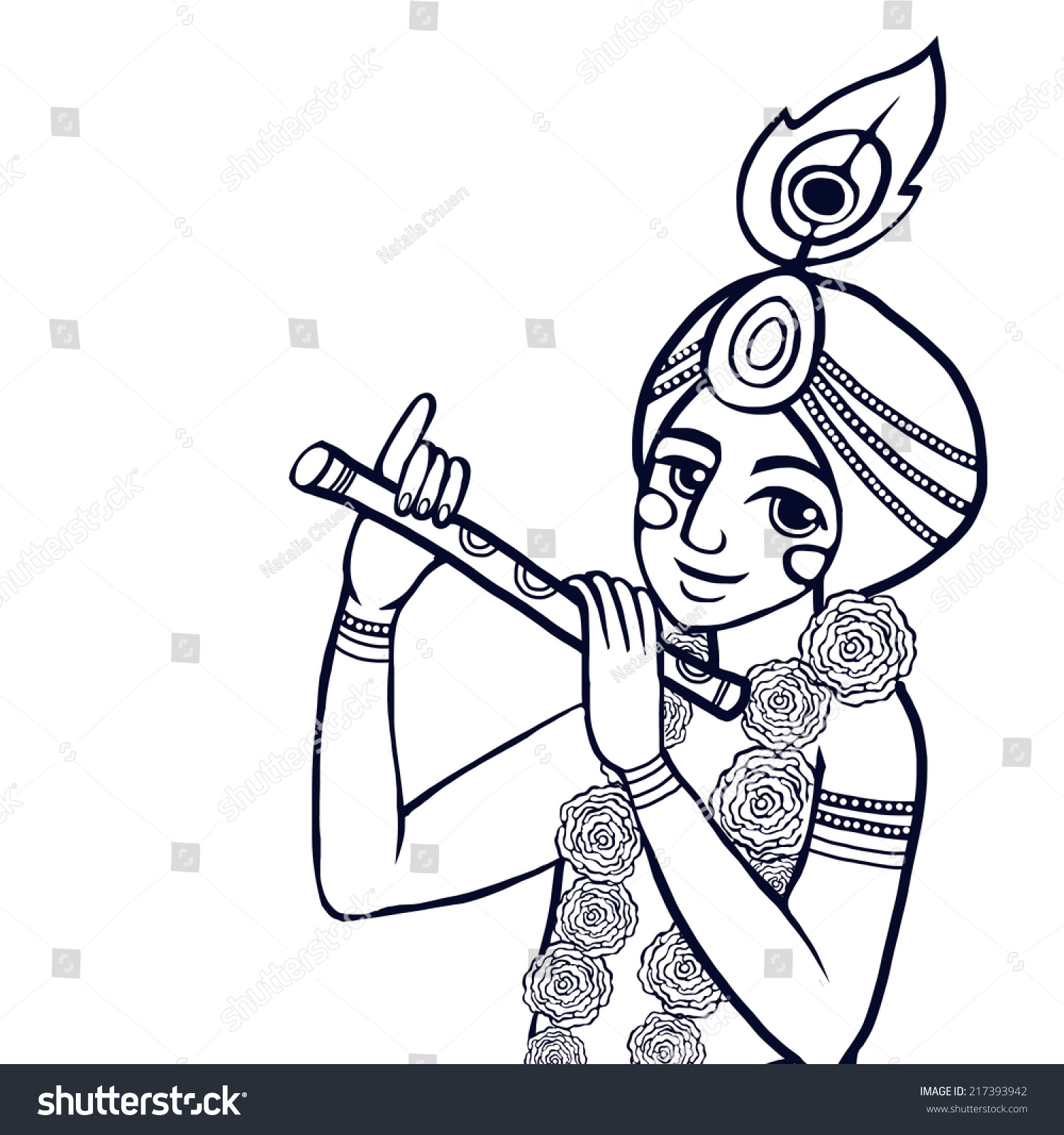 krishna floral wreath plays flute on stock vector 217393942