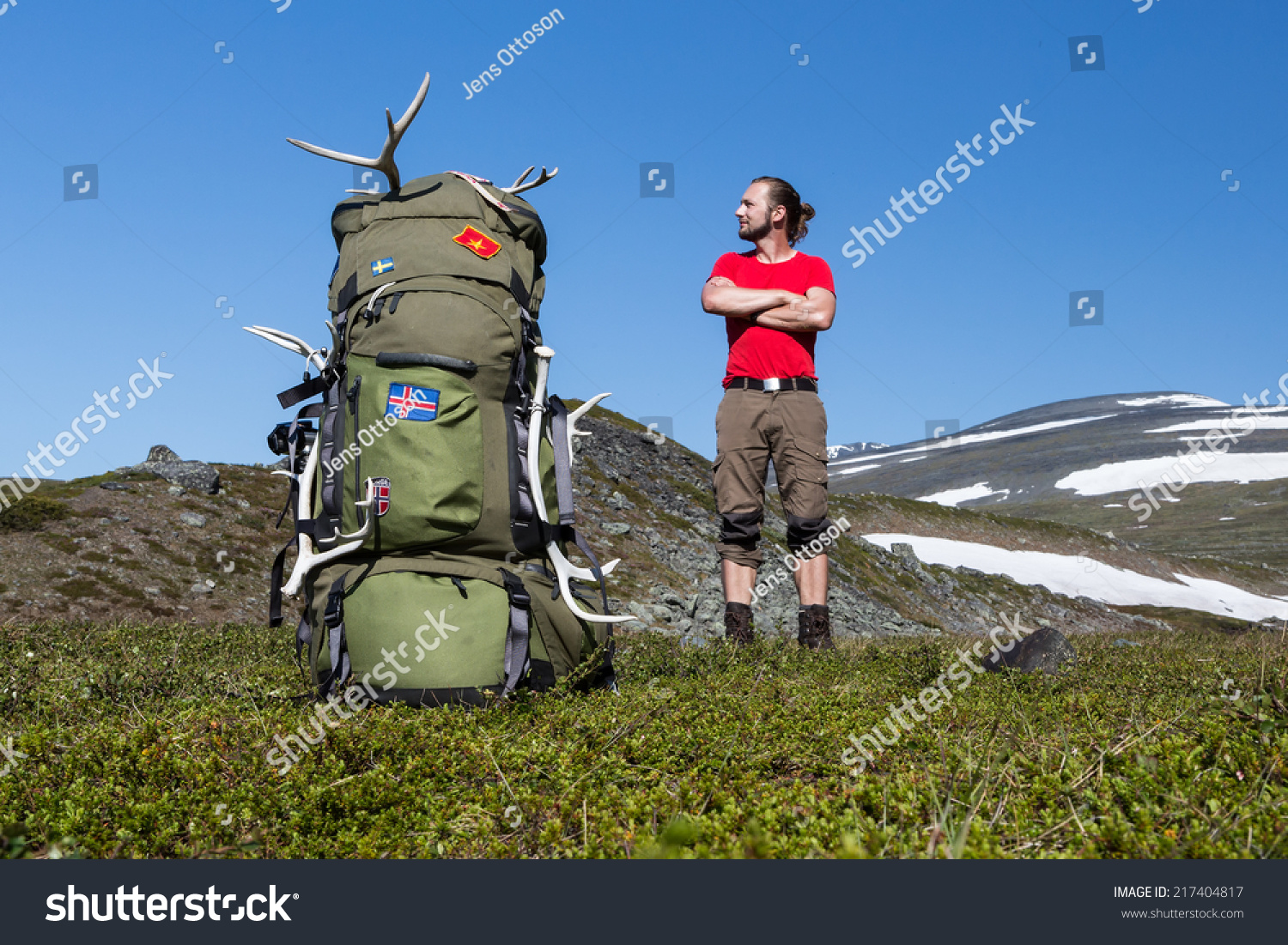 49a1dd905a Hiker Huge Backpack Stock Photo (Edit Now) 217404817 - Shutterstock