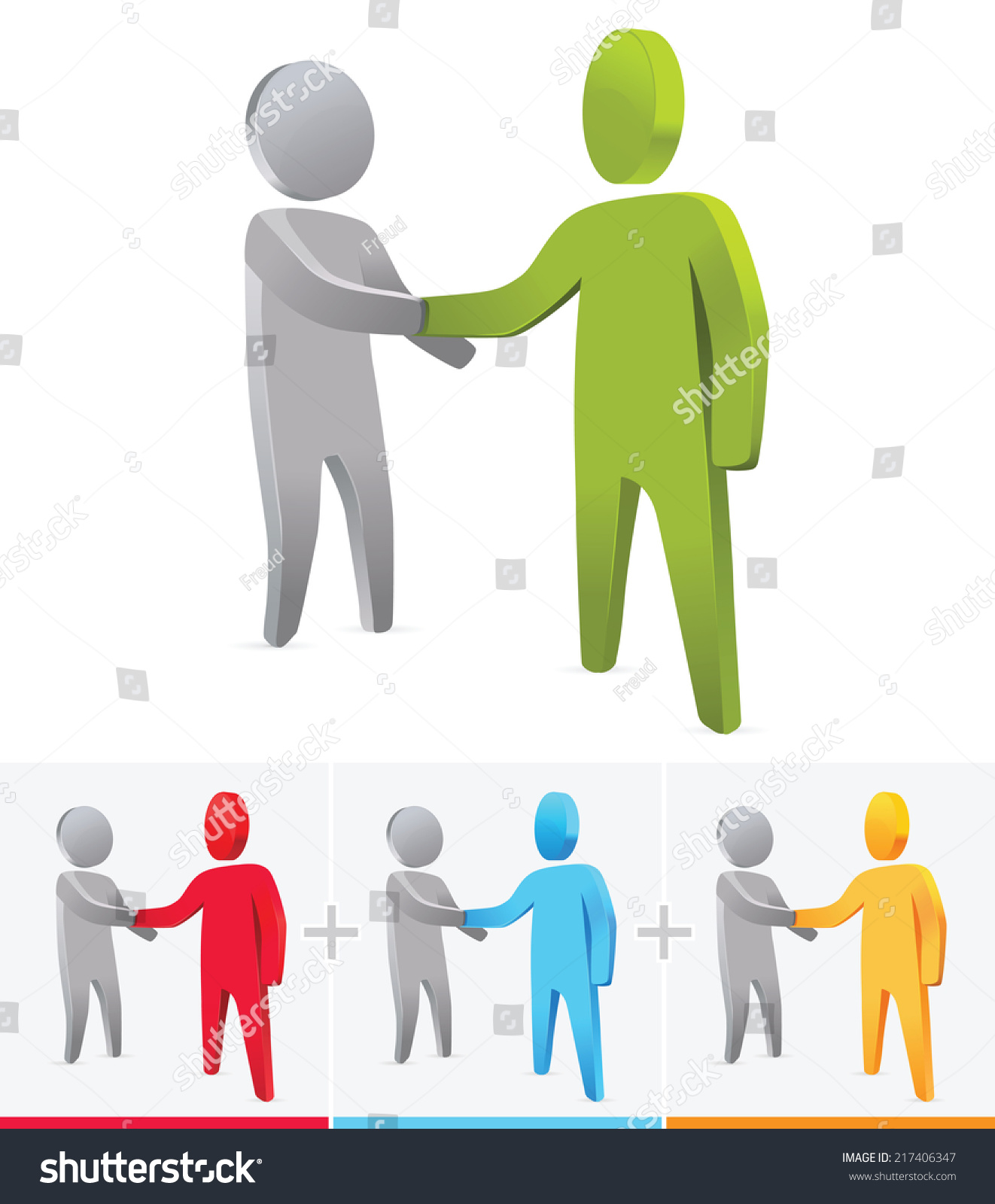 Royalty Free 3d Stick Figure Handshaking Business 217406347 Stock