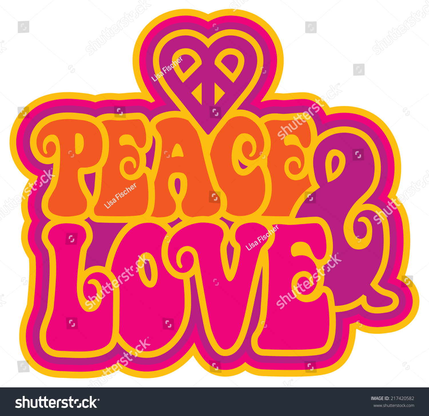 Peace Love Retrostyled Text Design Peace Stock Vector Royalty Free