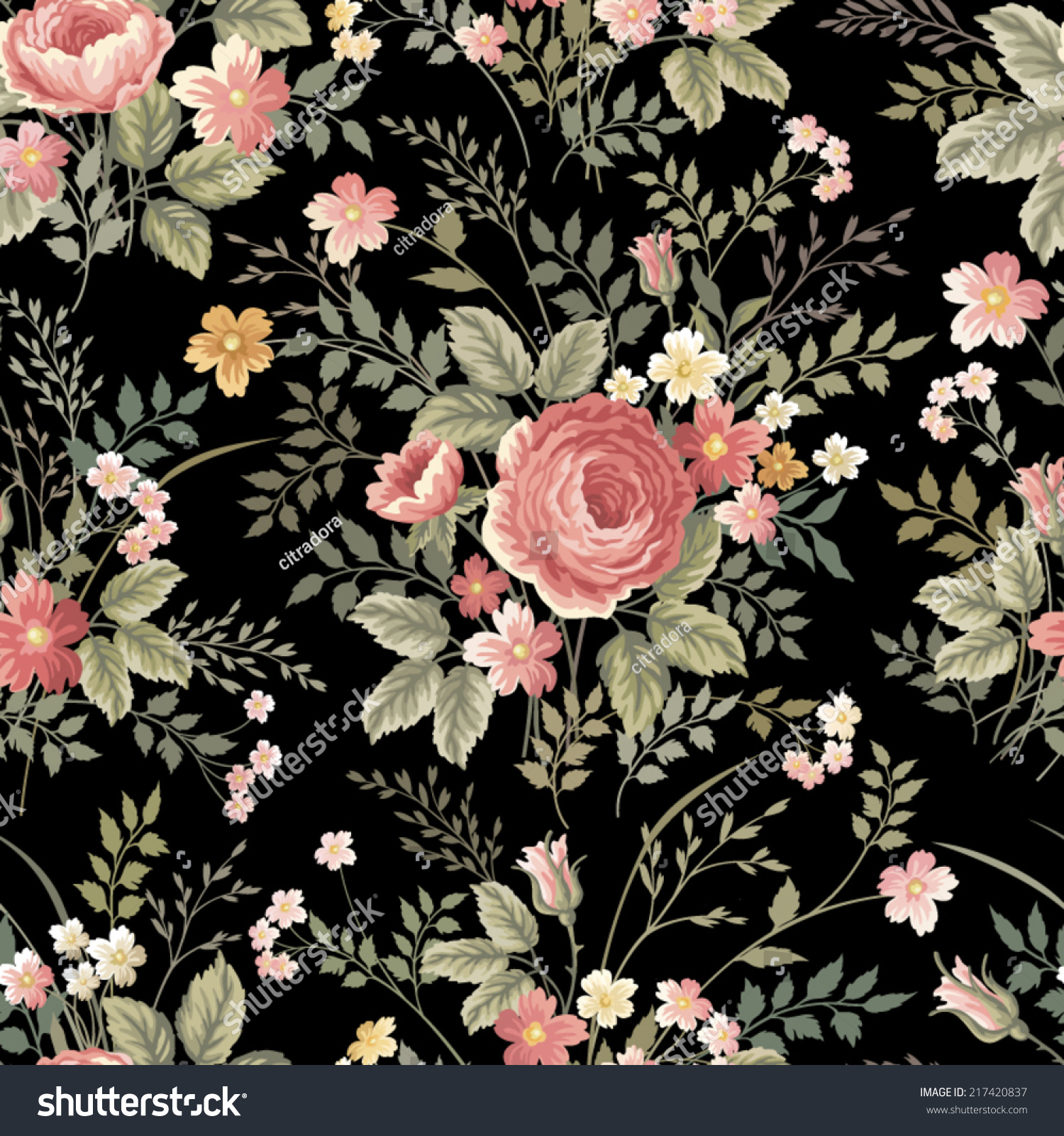 Seamless Floral Pattern Roses On Black Stock Vector Royalty Free