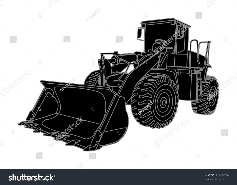Big Bulldozer Loader Vector Isolated On Stock Vector ...