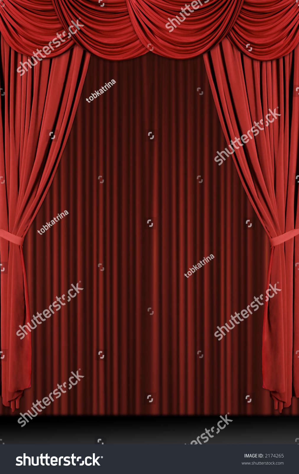 Stock photo dramatic red old fashioned elegant theater stage stock - Vertical Old Fashioned Elegant Theater Stage With Velvet Curtains