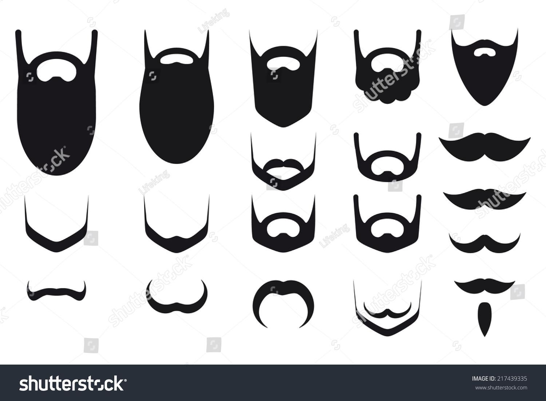 Set Of Beard And Musta...