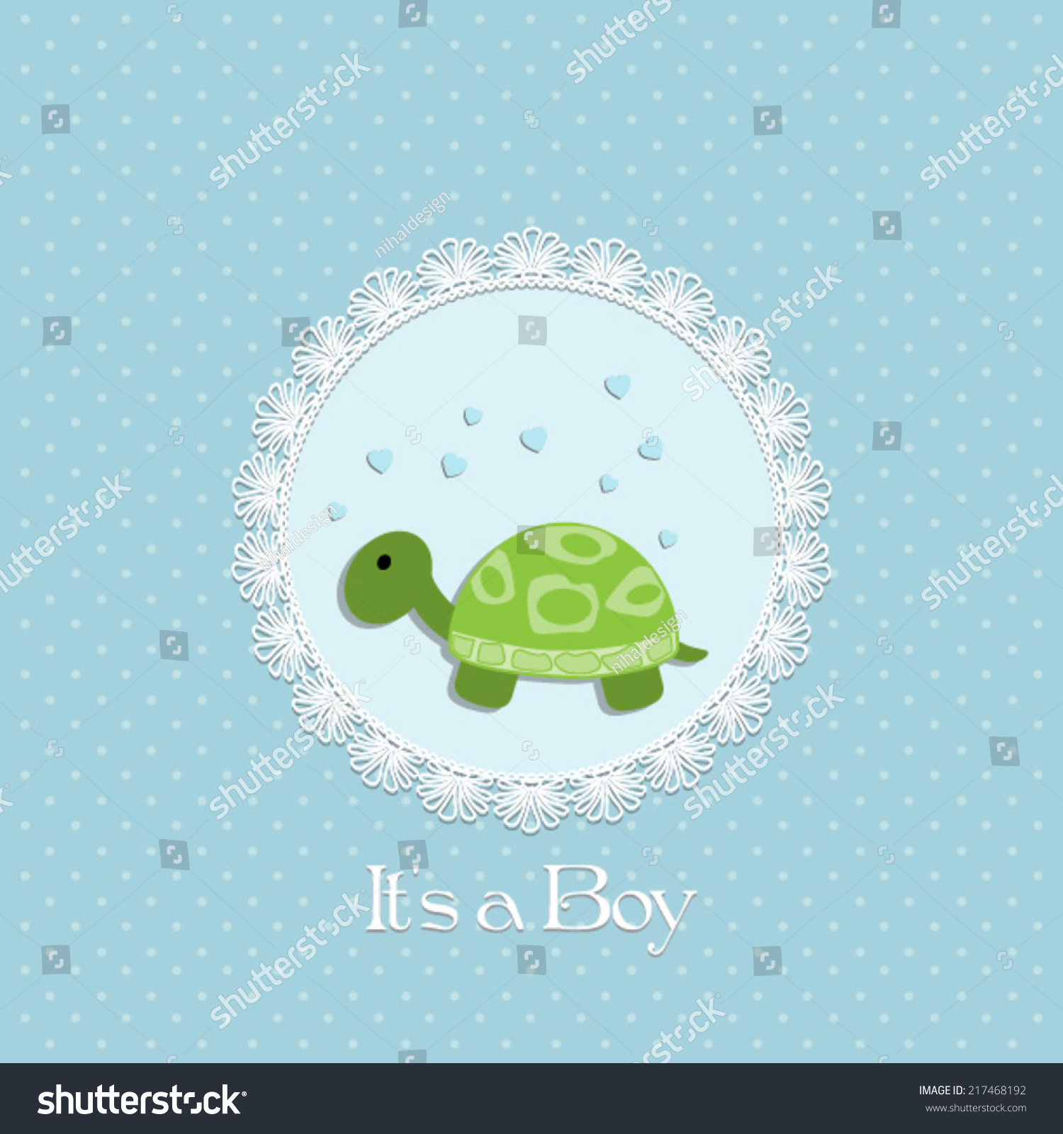 Baby Shower Card Baby Boy Turtle Stock Vector 217468192 - Shutterstock