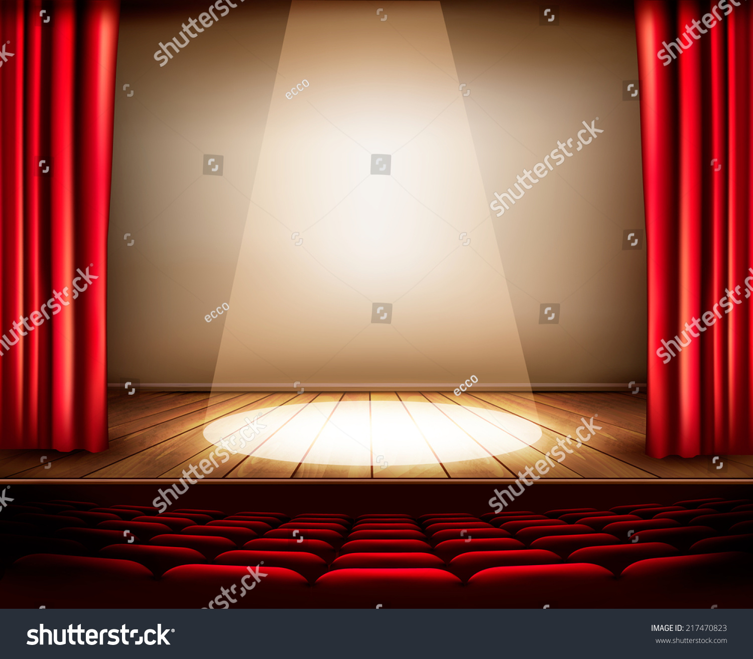 Stage curtains spotlight - A Theater Stage With A Red Curtain Seats And A Spotlight Vector