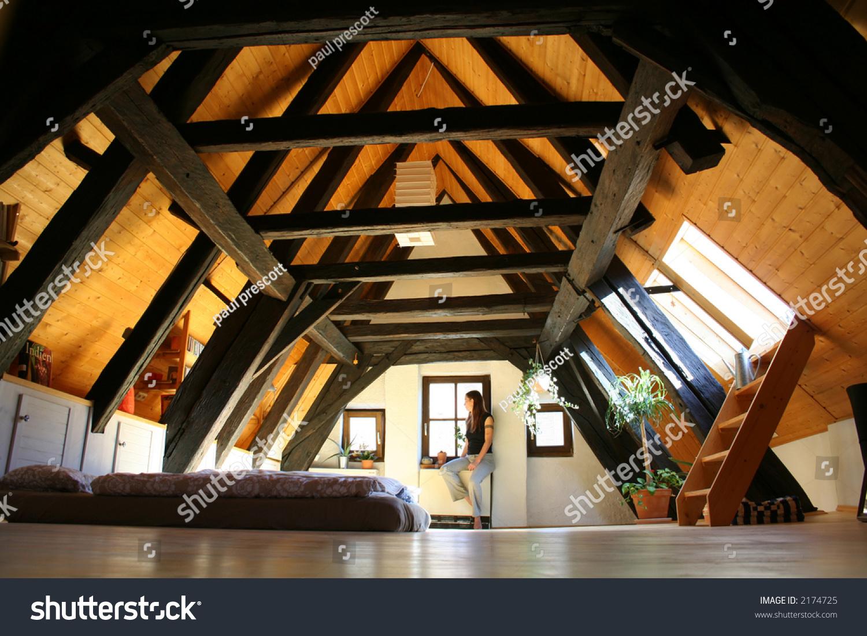 Room Under Roof Dark Wooden Beams Stock Photo 2174725