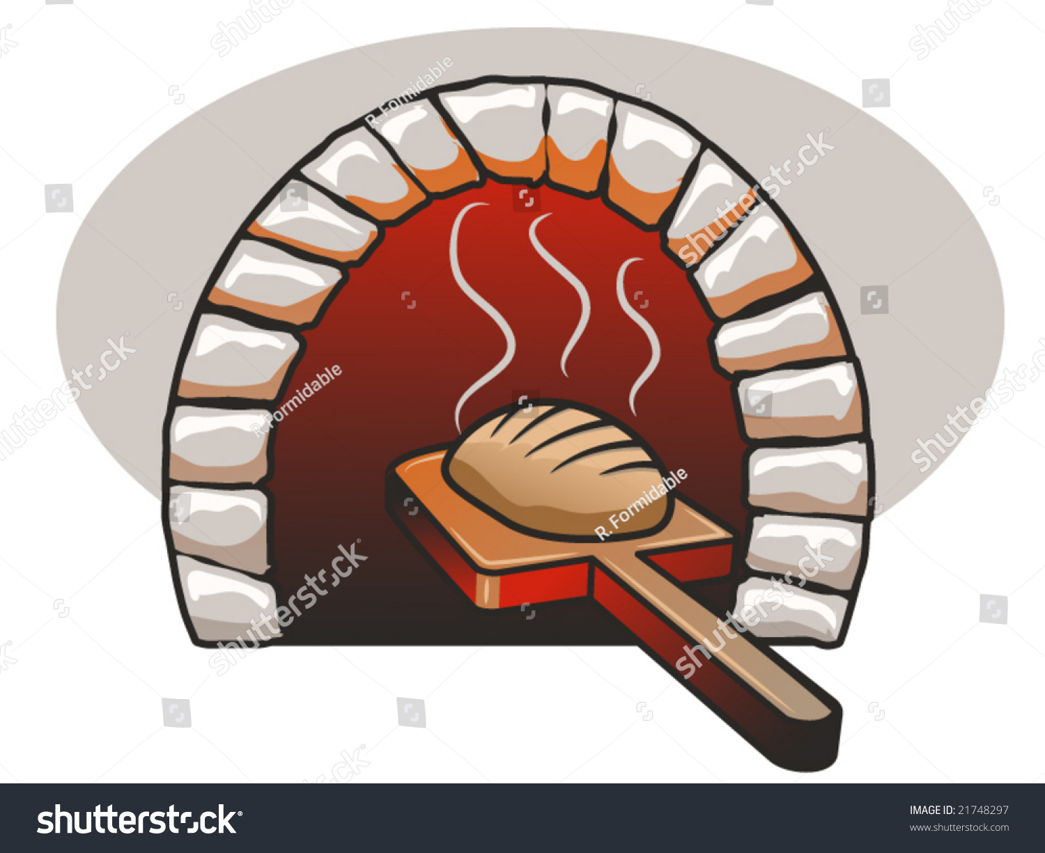 Stone Bread Baking in Oven Clip Art