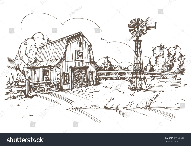 Hand drawn illustration farmhouse eps 10 stock vector for How to draw a farmhouse