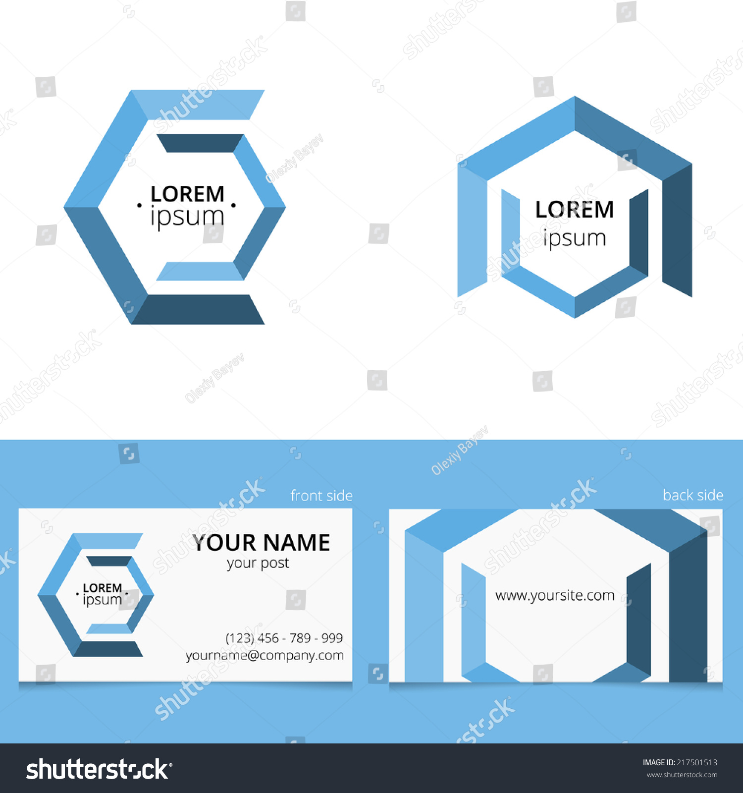 double sided place card template - hex logo template with place for text and design for two
