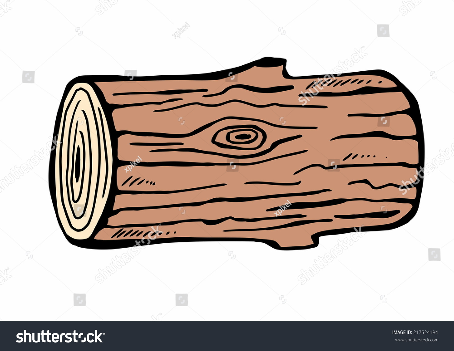 Timber Logs Clip Art ~ Hand drawn wood logs stock illustration