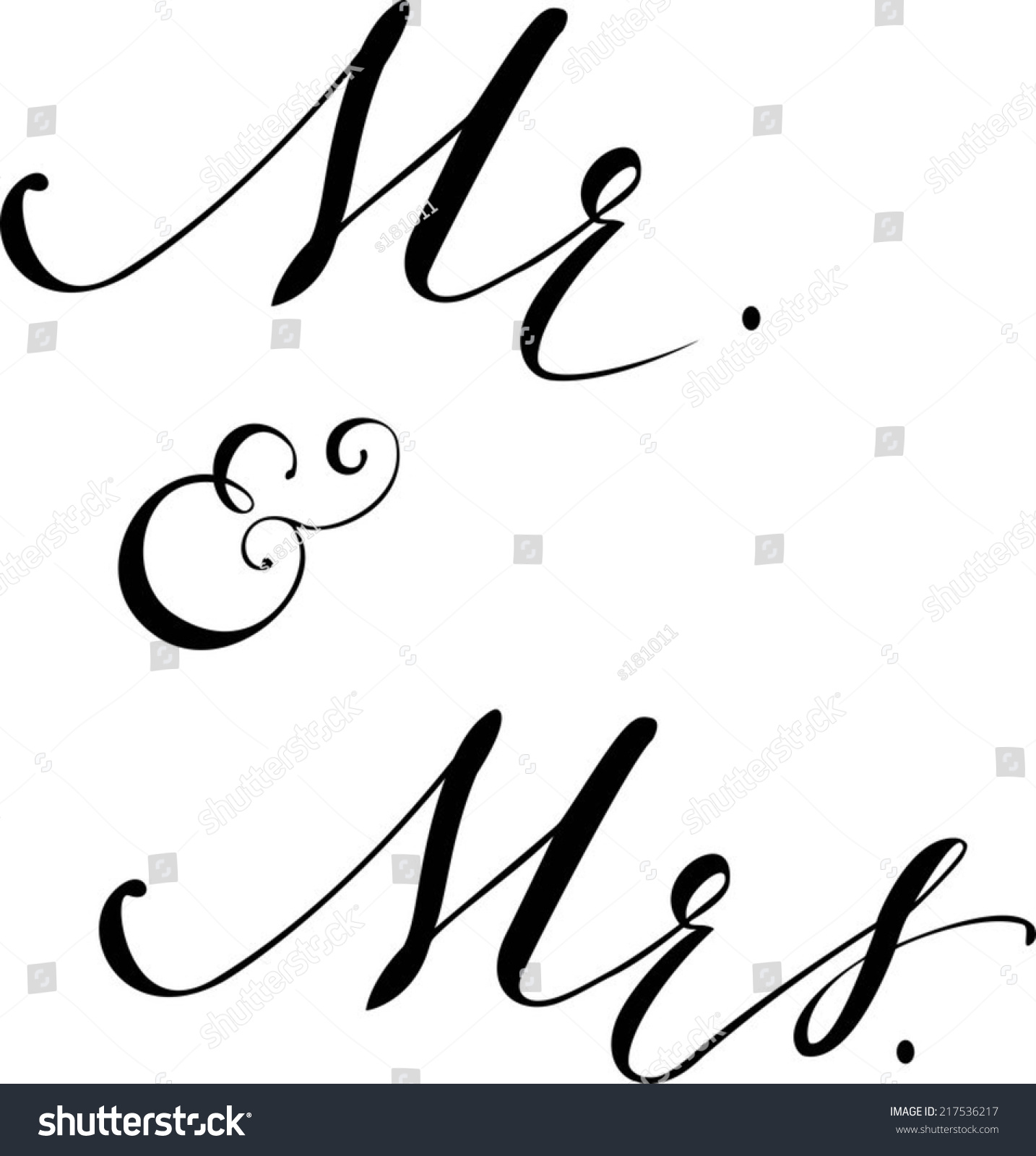Hand Written Autotraced Modern Calligraphy Mr Stock Vector