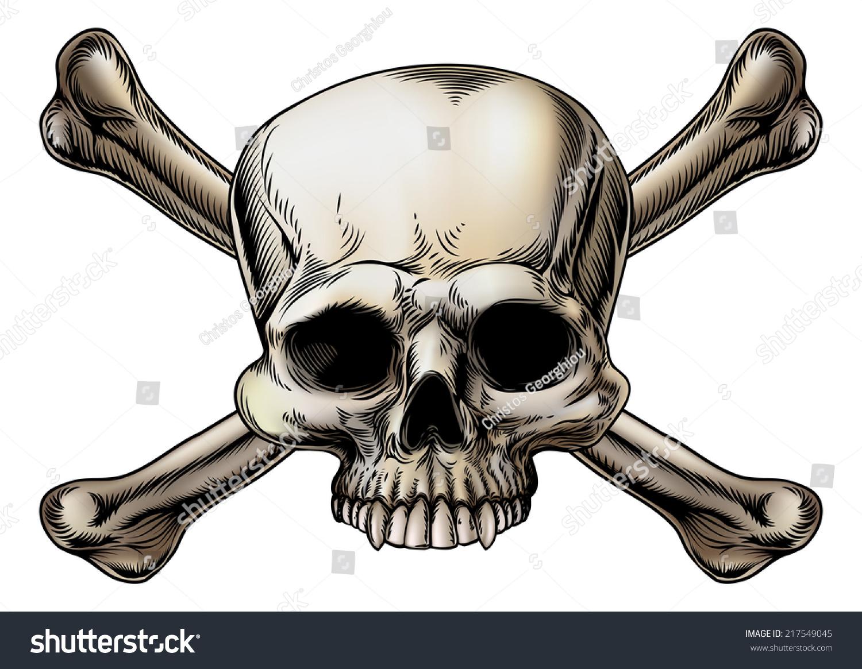 Skull Crossbones Drawing Skull Center Crossed Stock ... Skull And Cross Drawing