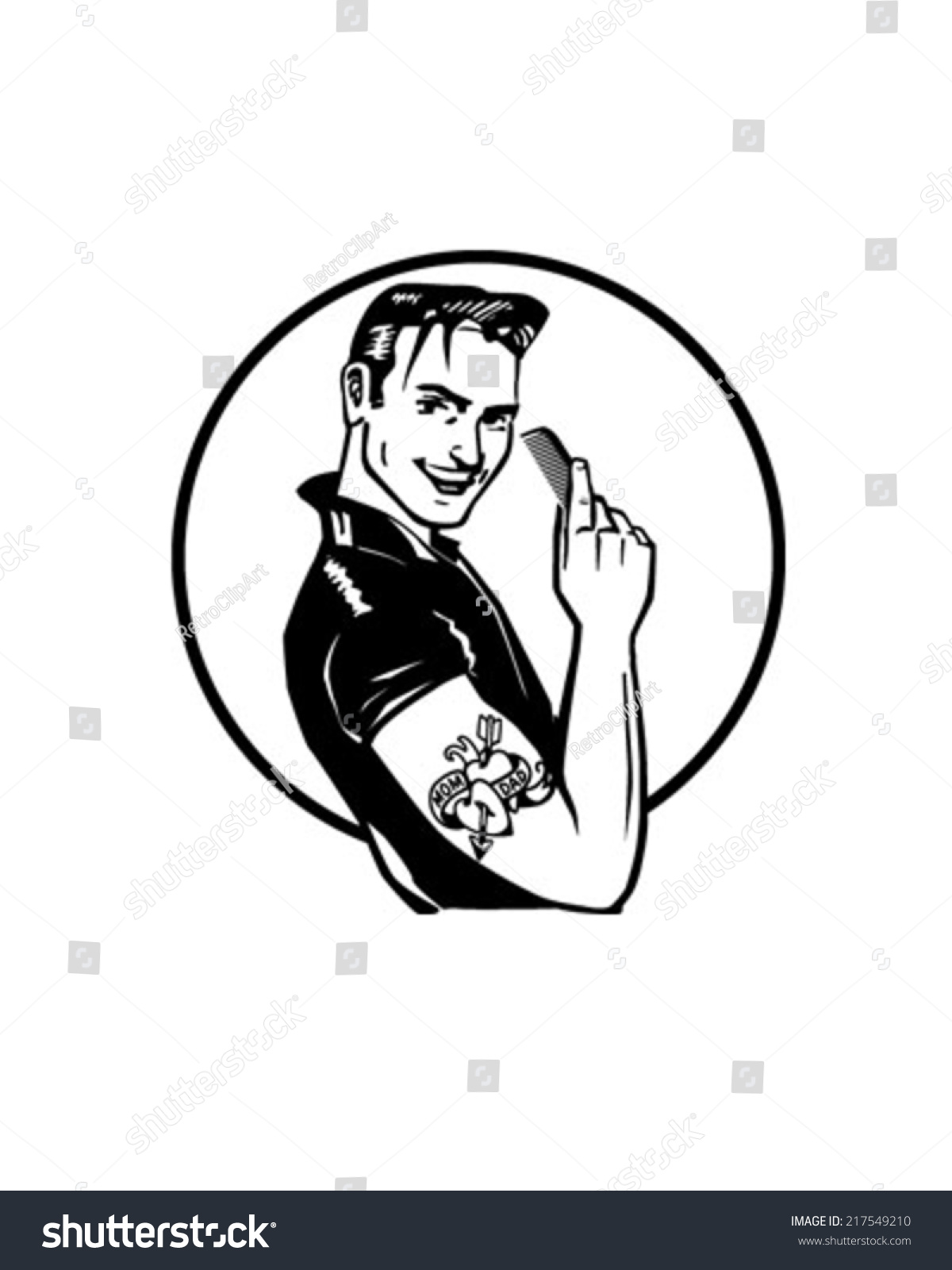 Fifties Greaser Retro Clipart Illustration Stock Vector 217549210 ...