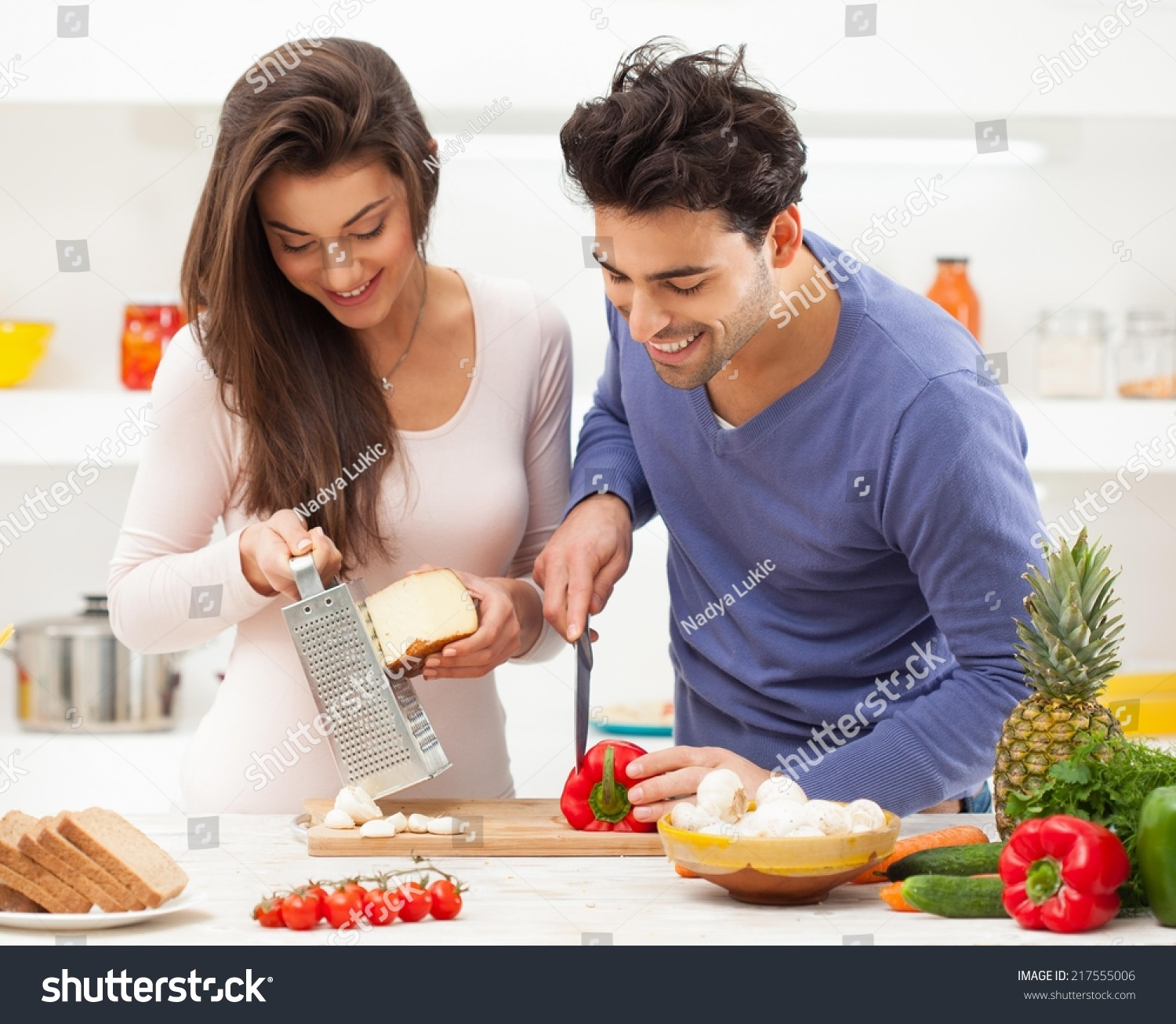 Couple romance in home