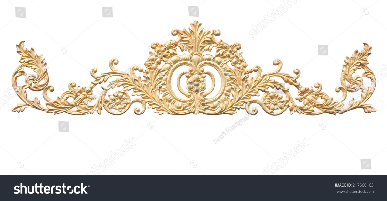 Old Antique Gold Frame Stucco Walls Stock Photo 217560163