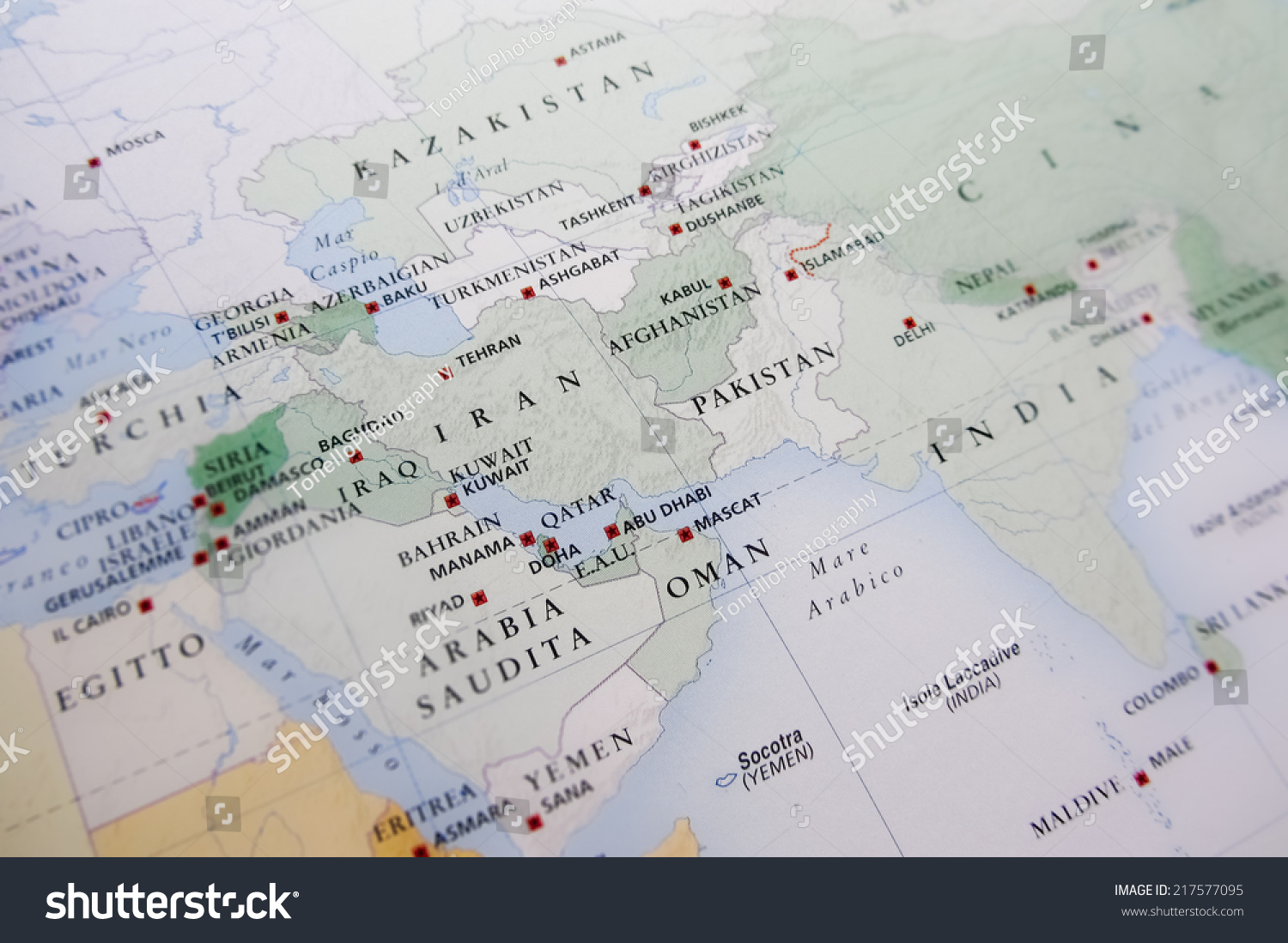 Middle East Map Geographical View Altered Stock Photo 217577095