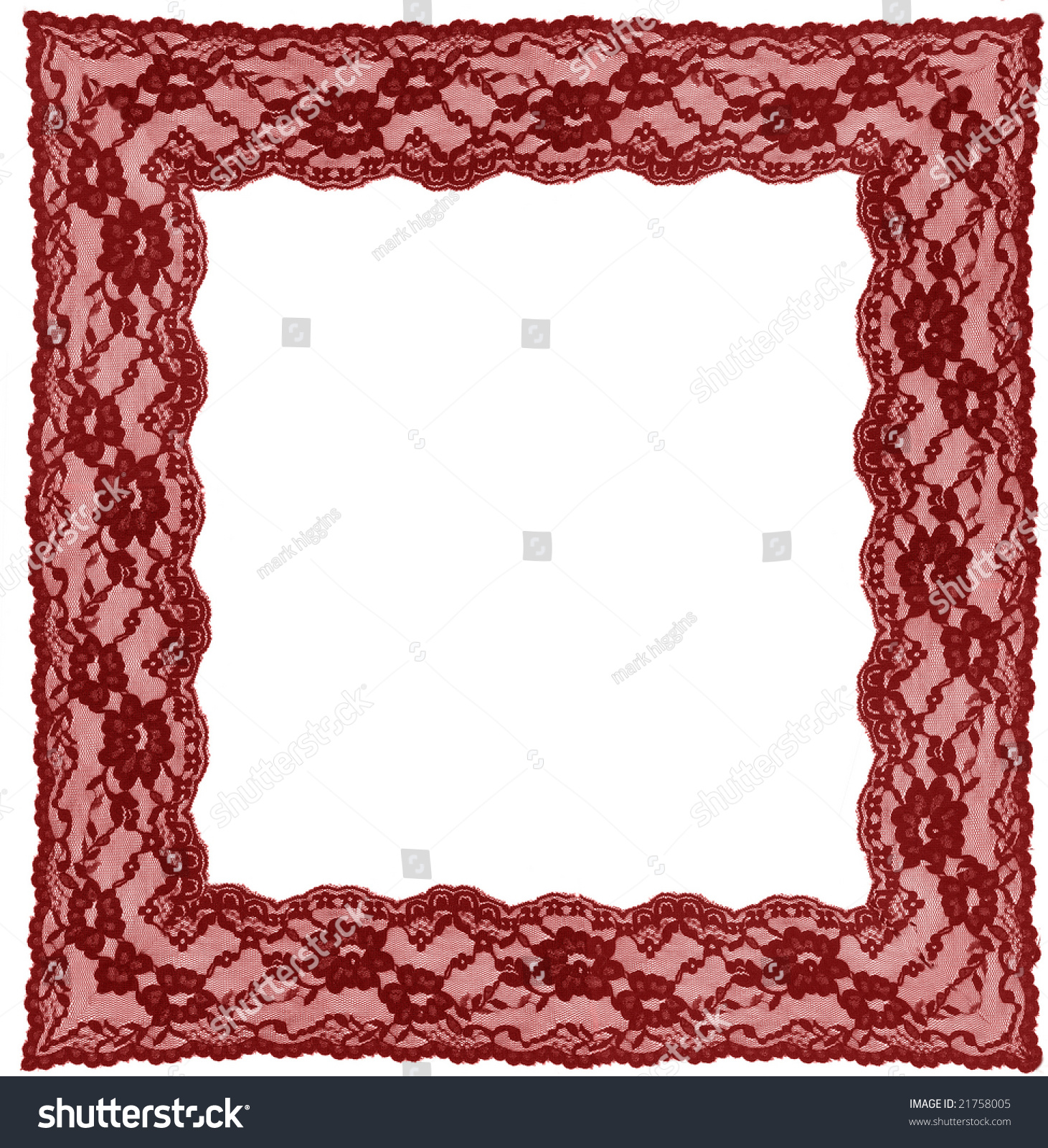 Red gift bows border with clipping path for easy background removing - Red Lace Frame