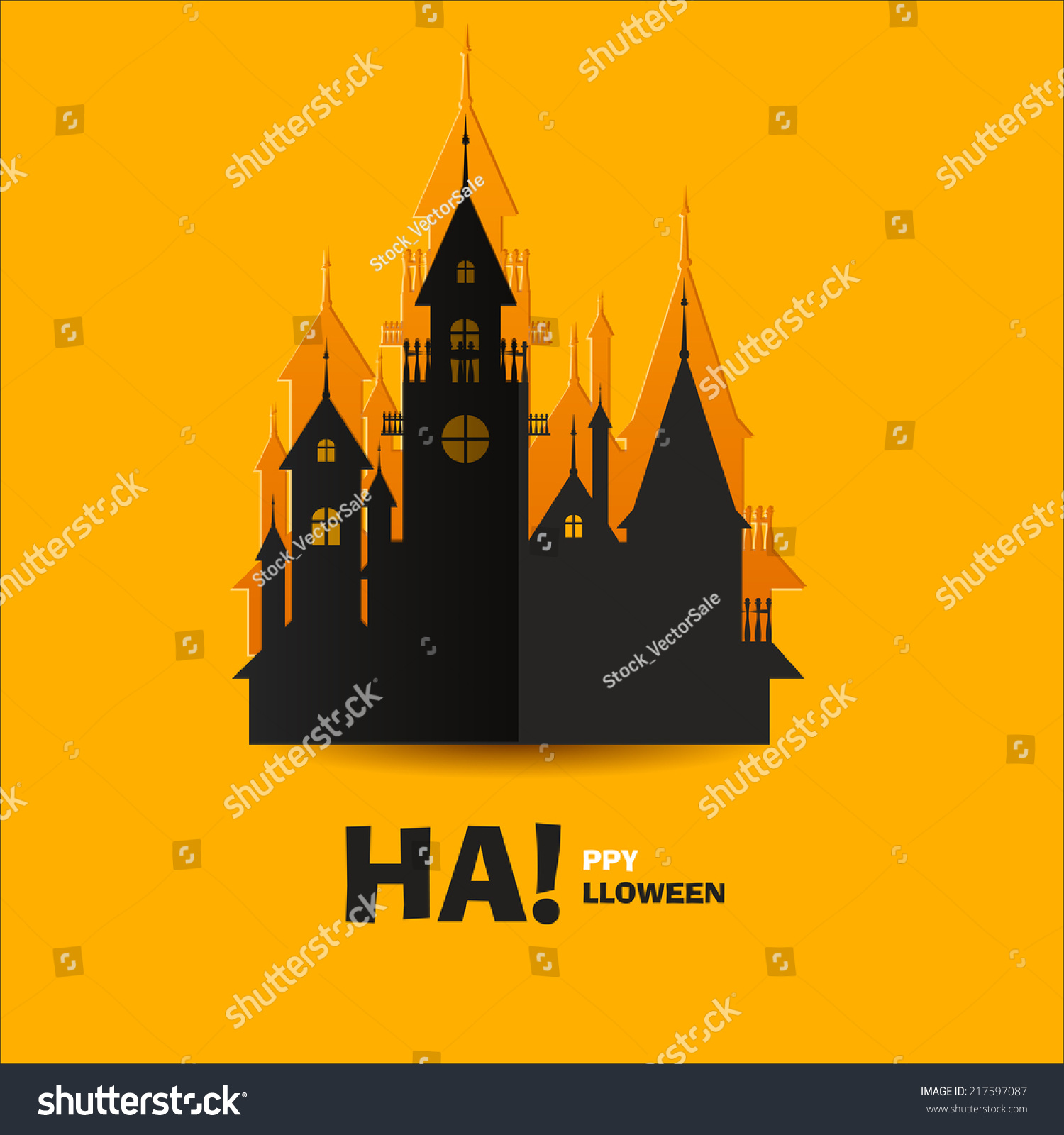 house horrors castle cut out paper stock vector 217597087