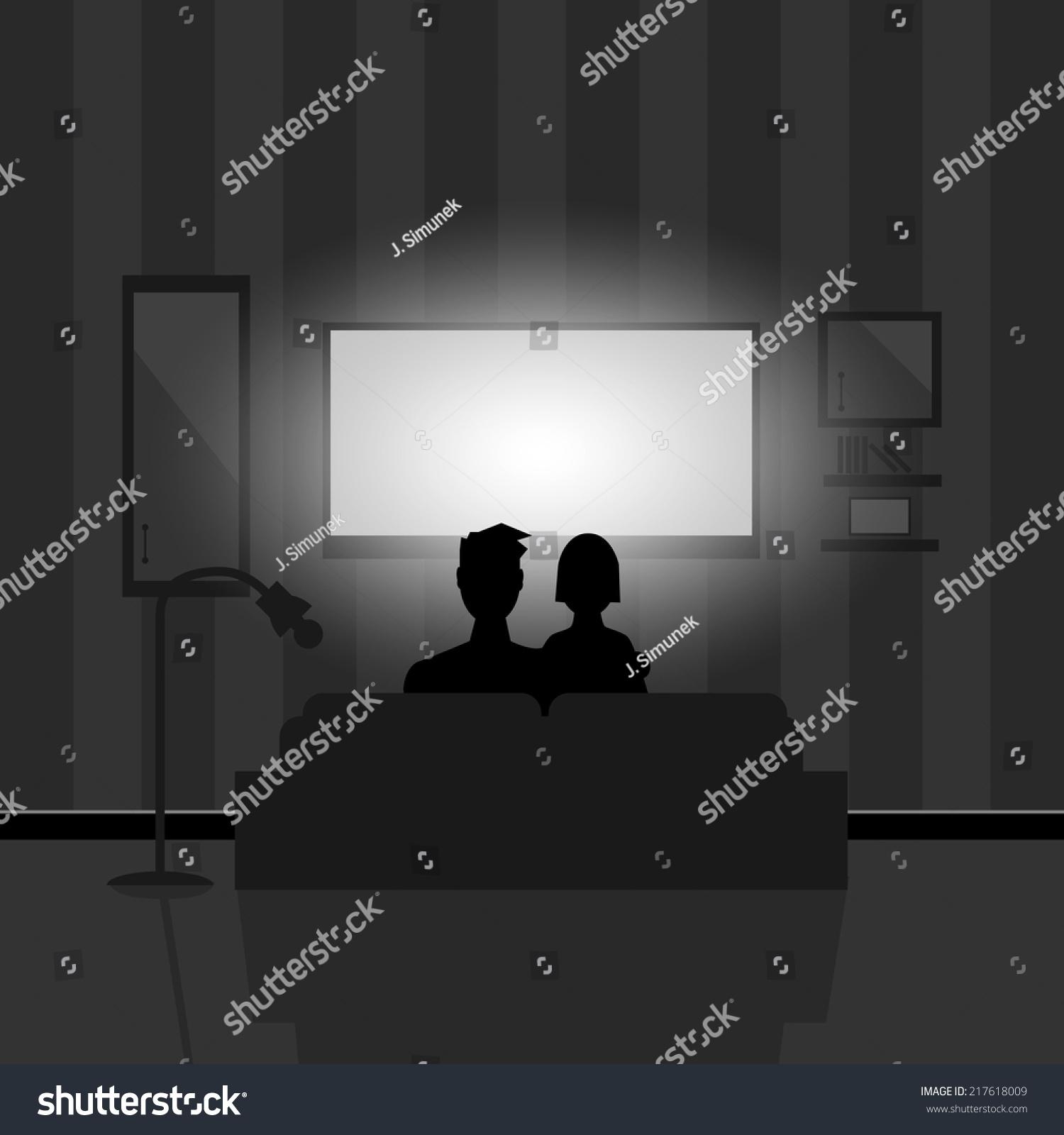 Couple Watching Movie On Tv At Night Stock Vector Illustration 217618009  Shutterstock