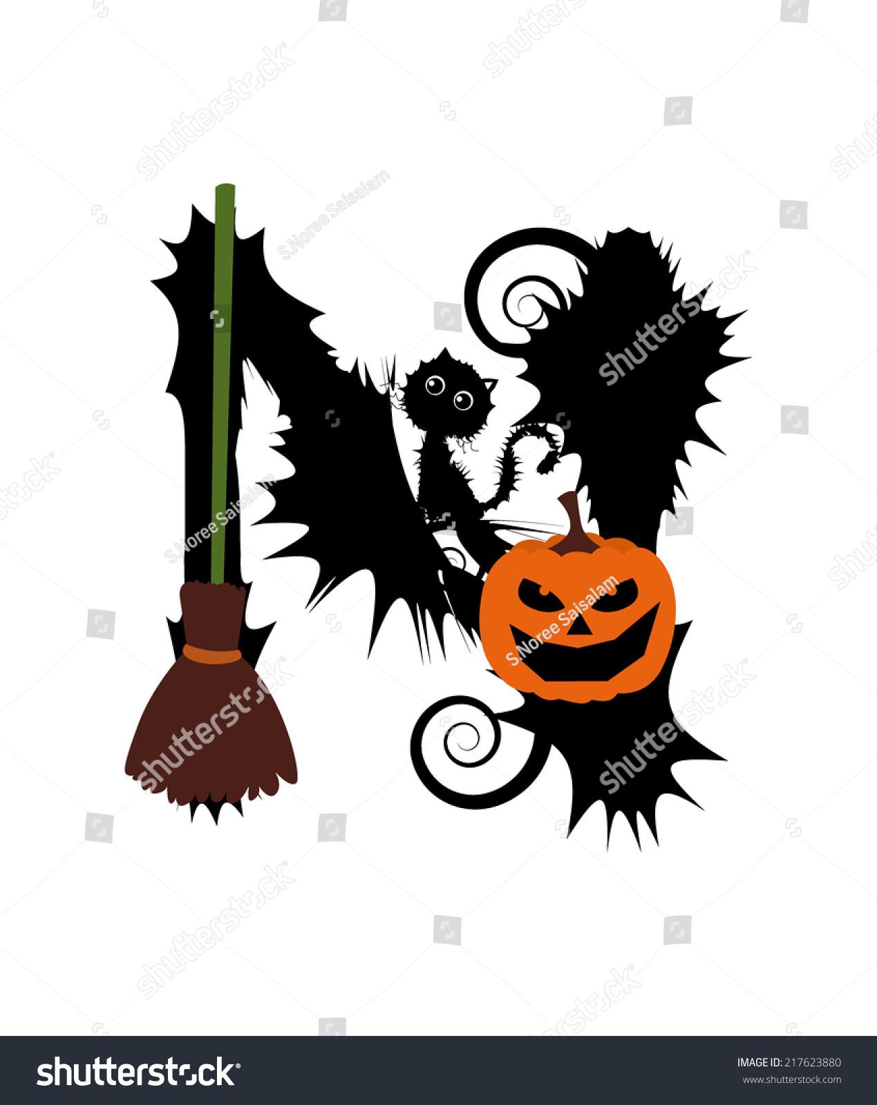 Halloween Alphabet Letter R Cat Witch Ryta: Halloween Alphabet Set Letters Pumpkin On Stock Vector
