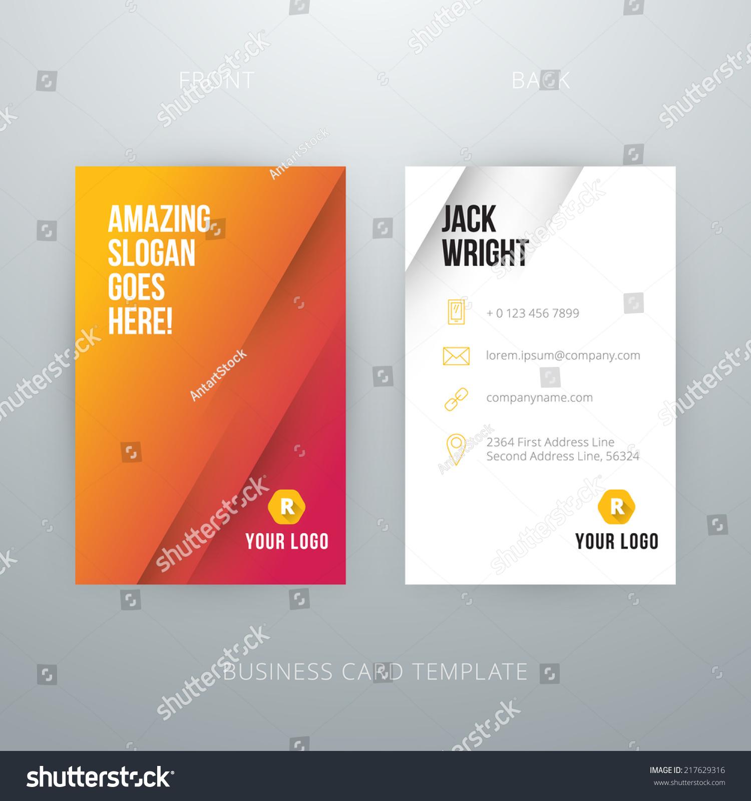 Modern Simple Business Card Template Vector Stock Vector 217629316 ...