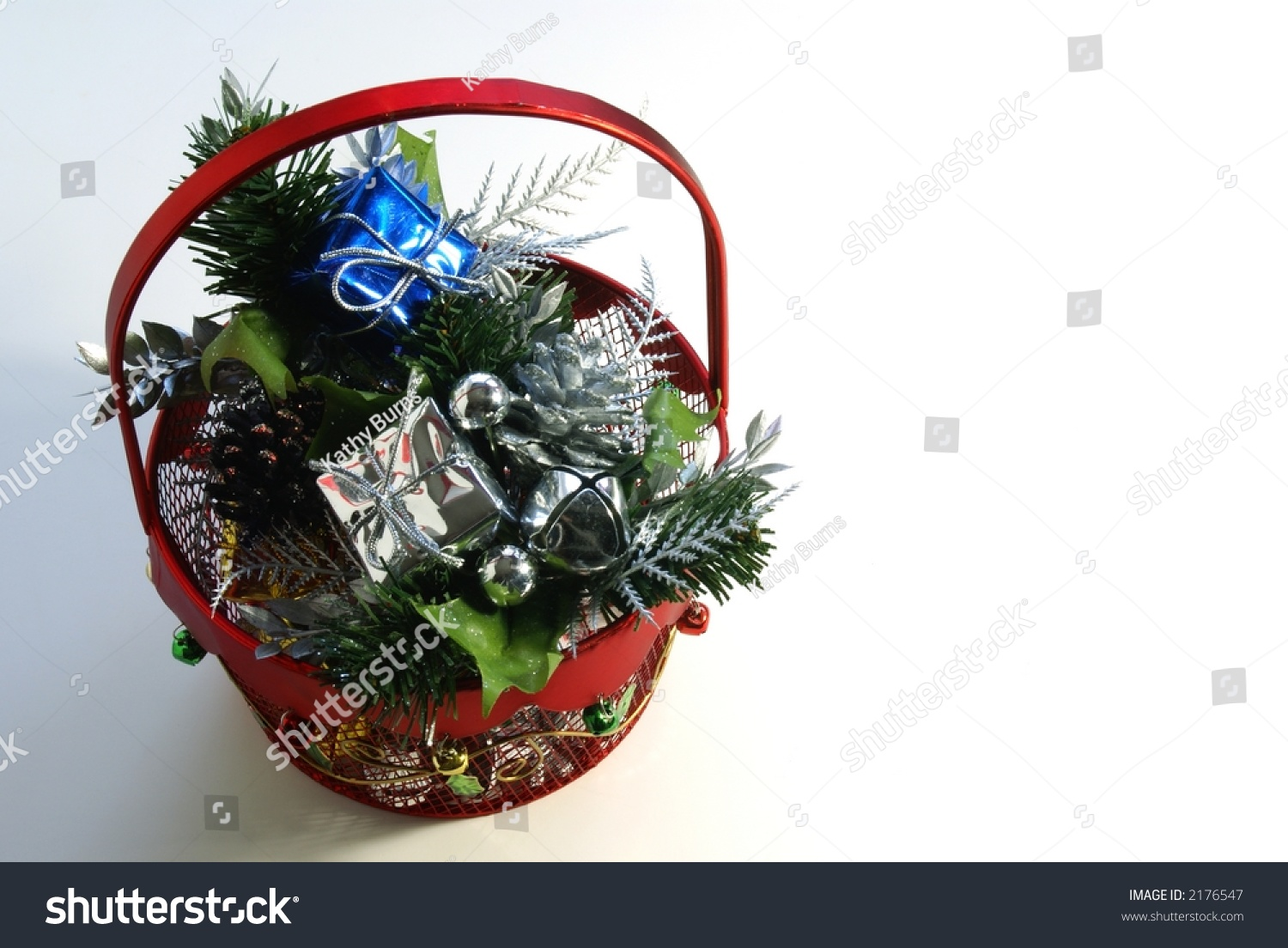 Red metal christmas gift basket decorations stock photo