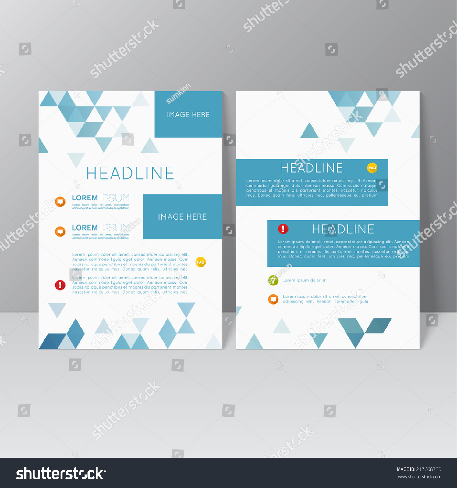 Vector brochure template design triangles icons stock for Booklet brochure template