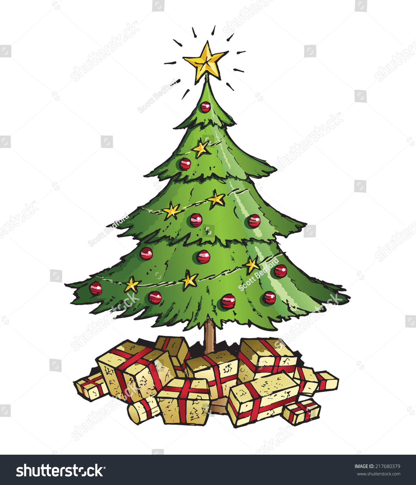 White christmas tree with red and green decorations - Green Christmas Tree Decorated In Gold Stars Red Baubles And With Lots Of Gold Wrapped