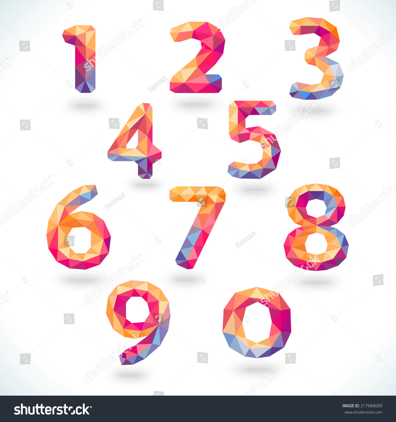 Numbers set modern polygonal crystal style stock vektor for Blueprint number