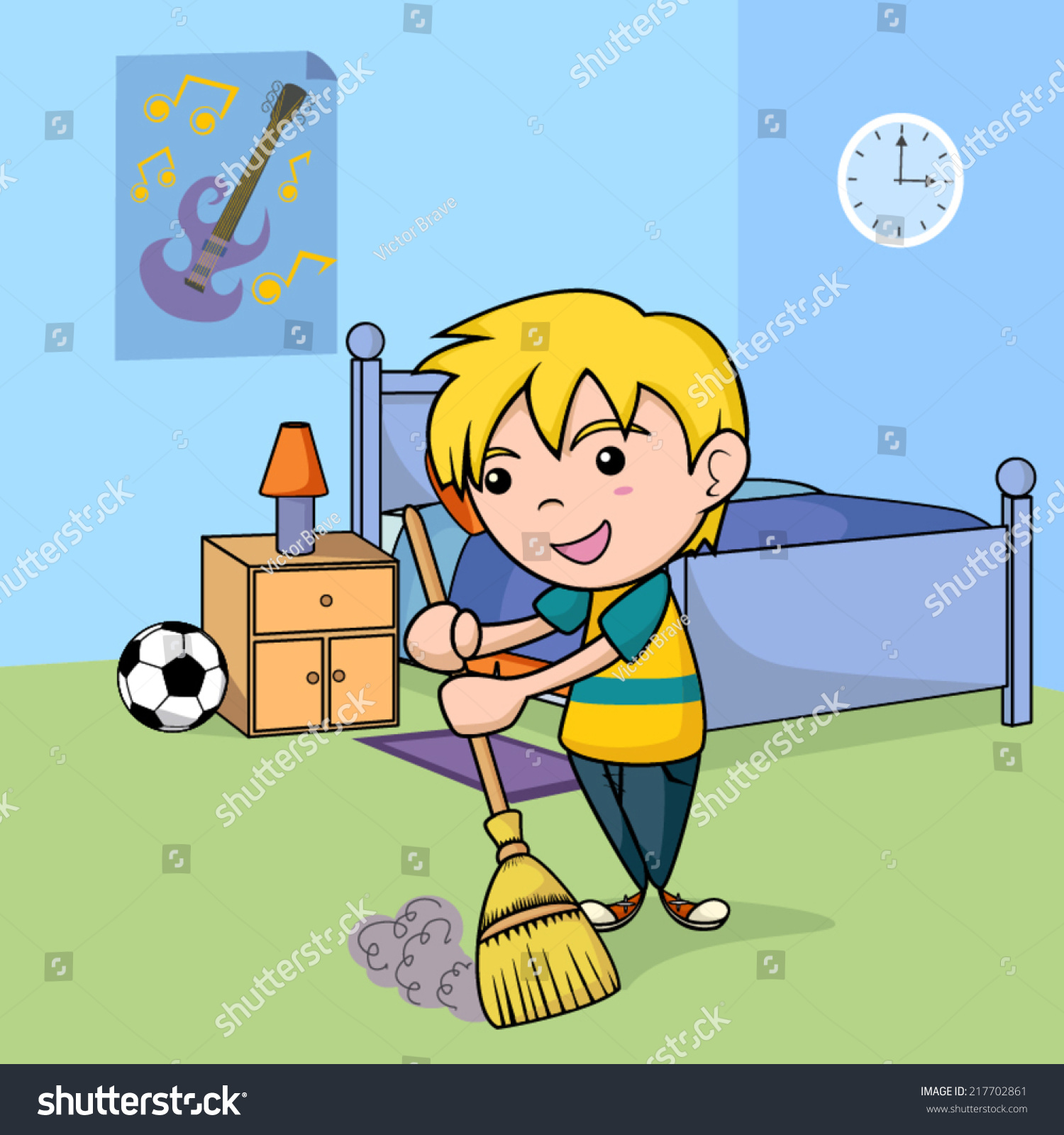 Child Cleaning Bedroom Vector Illustration Stock Vector