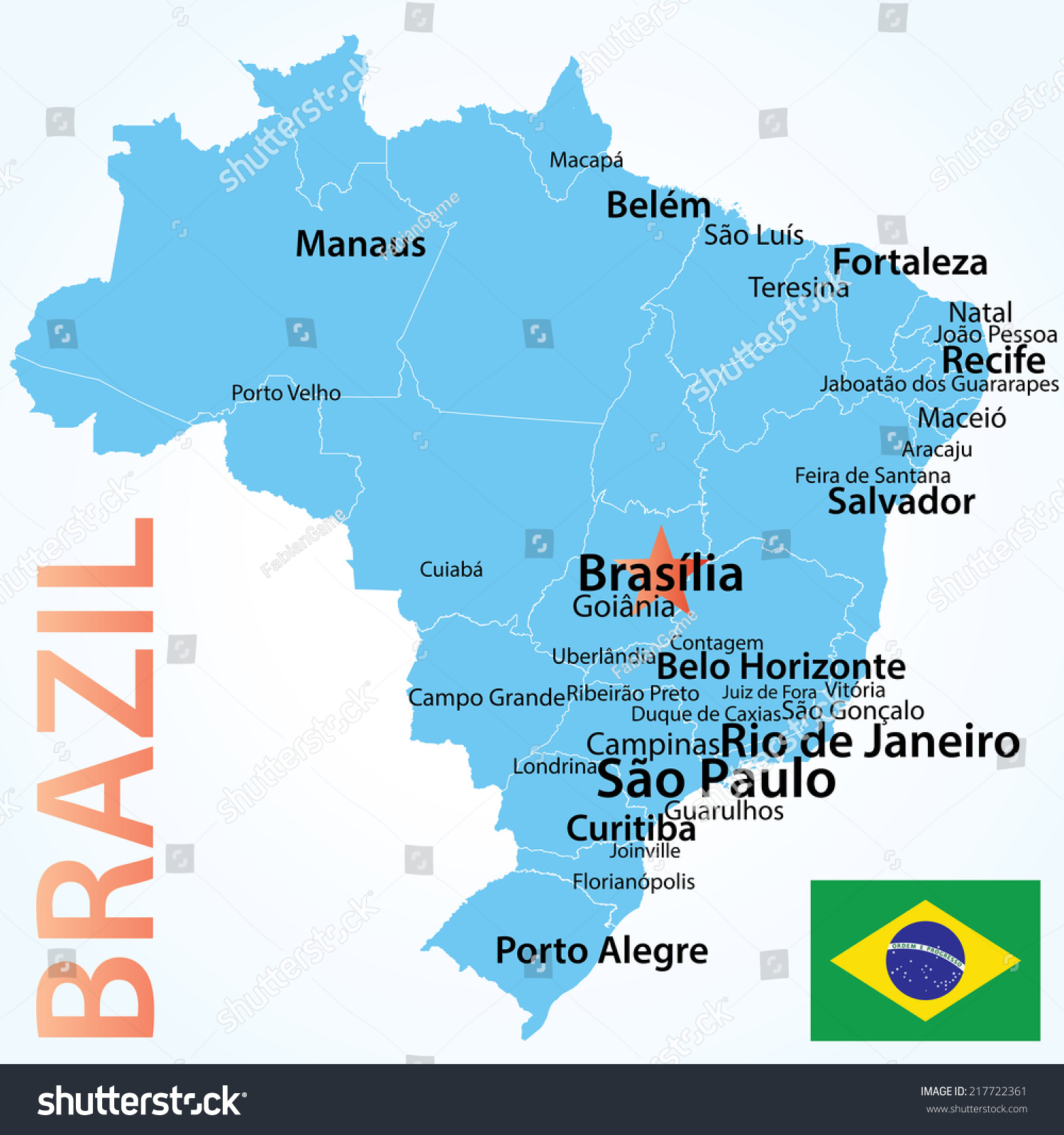 Brazil Map Largest Cities Carefully Scaled Stock Vector (Royalty ...