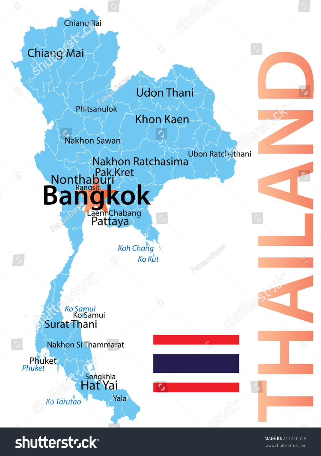 Thailand Map Largest Cities Carefully Scaled Stock Vector - Map of thailand cities