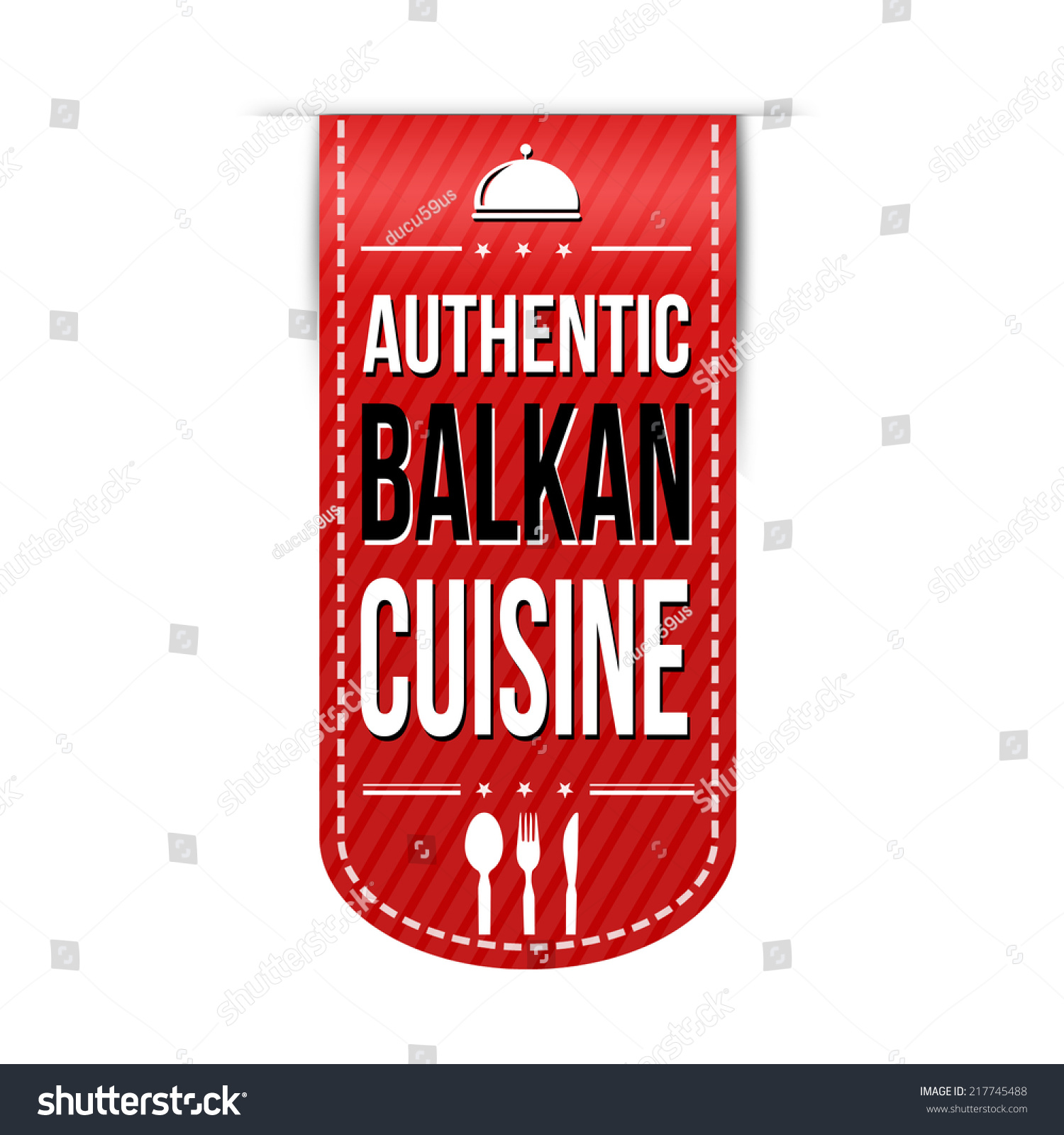 Authentic balkan cuisine banner design over a white for Authentic cuisine
