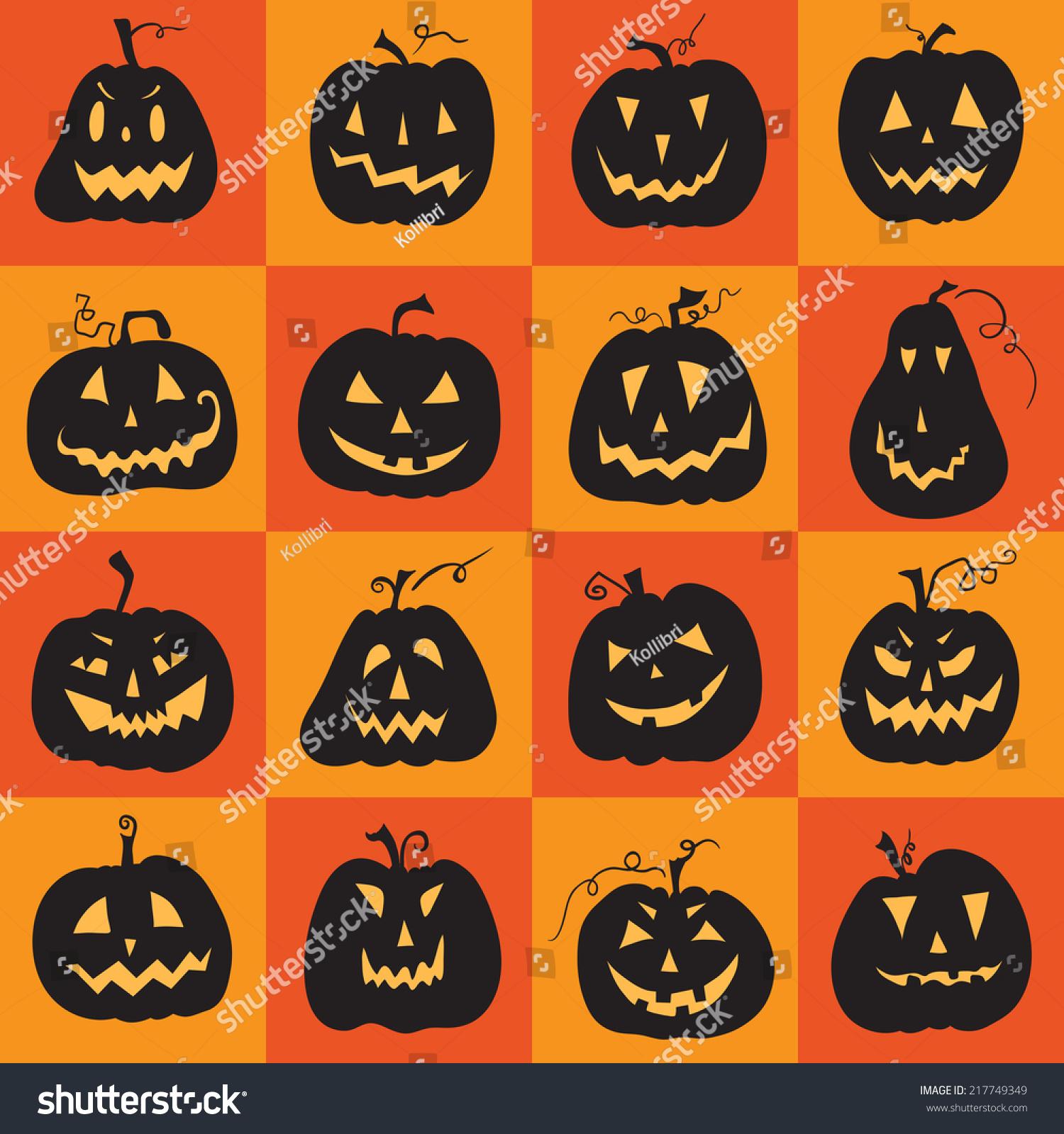 set scary halloween pumpkin pumpkins designs stock vector (royalty
