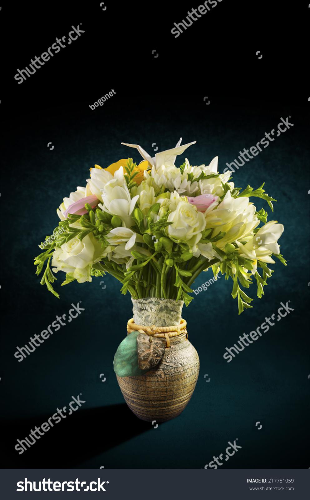 Bouquet Flowers Decorative Vase Ornated Origami Stock Photo Edit