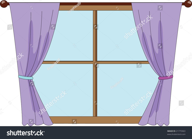 Illustration Window Purple Curtains Stock Vector 21775963 ... for Window With Curtains Illustration  183qdu