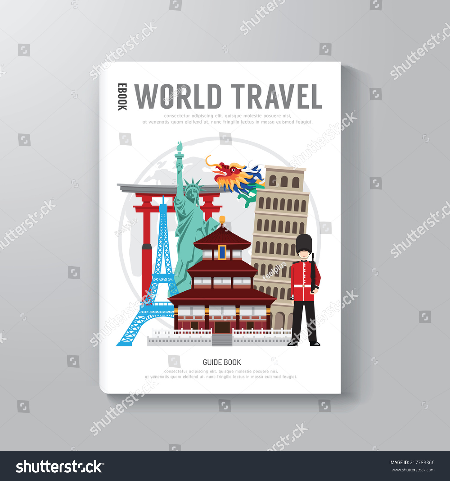 Book Cover Illustration Contract ~ World travel business book template design stock vector