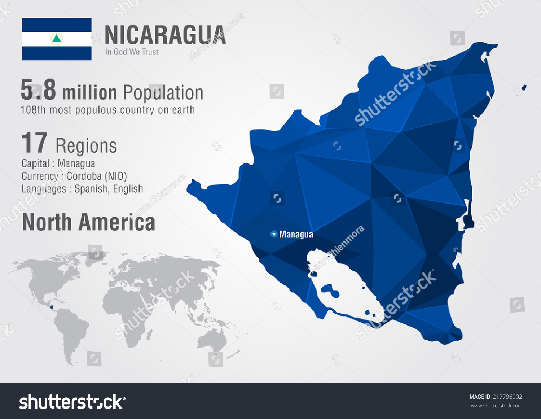 Nicaragua World Map Pixel Diamond Texture Stock Vector - Where is nicaragua on the world map